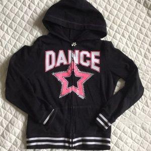 """Justice """"DANCE"""" zip up hoodie jacket"""
